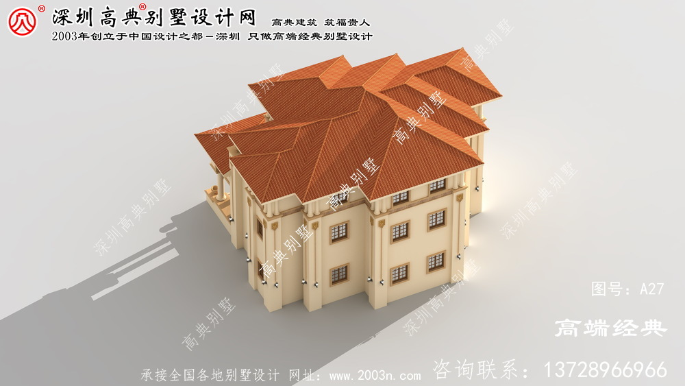 白下区漂亮实用的欧式三层复式别墅效果图