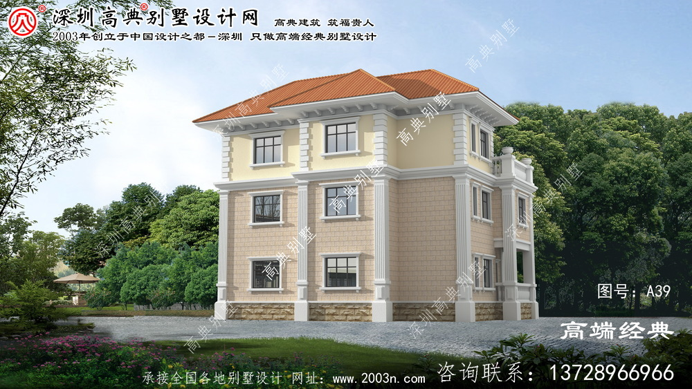 江宁区农村欧式优雅三层复式别墅效果图
