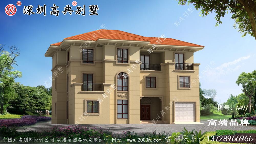 门面18.9米X深度15米三层欧式别墅,外观漂亮大方,布局实用。