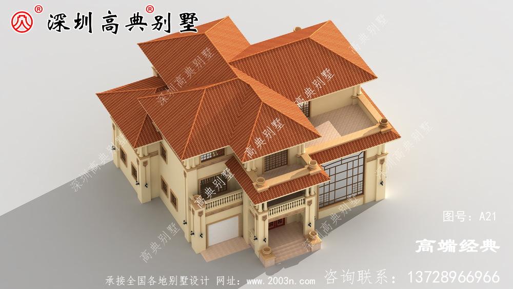 20万二楼的乡村自营住宅,在村子里建得很明亮。