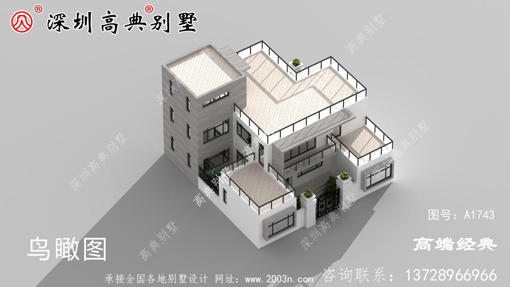 欧式风格三层小洋楼外观图,外观,符合农村住宅设计。