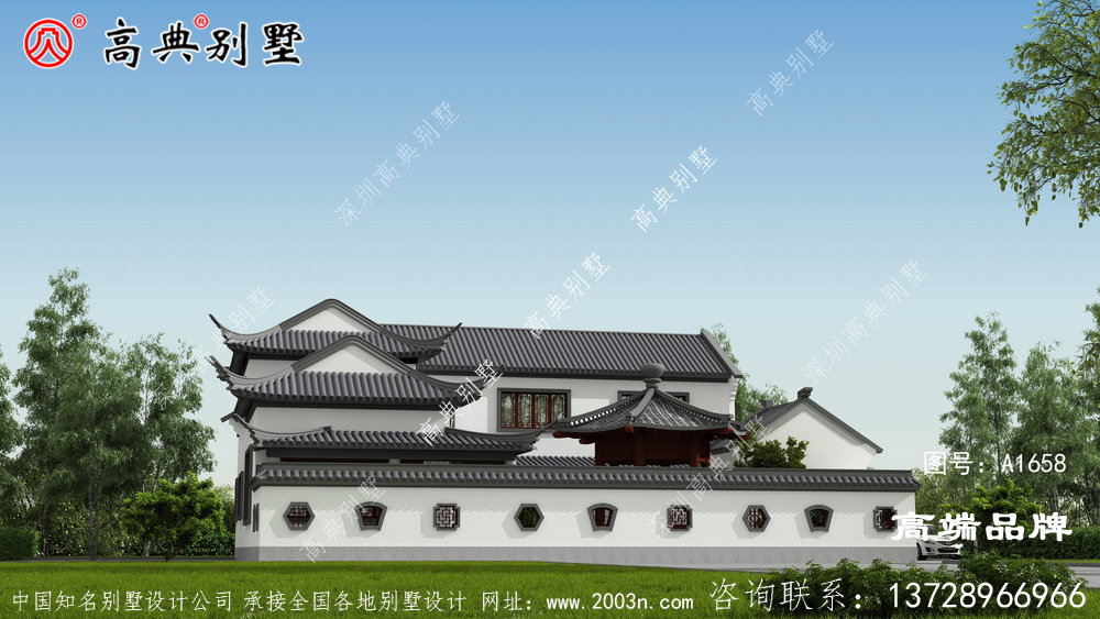 经典中式庭院灰色屋顶白色外墙漆美观大方