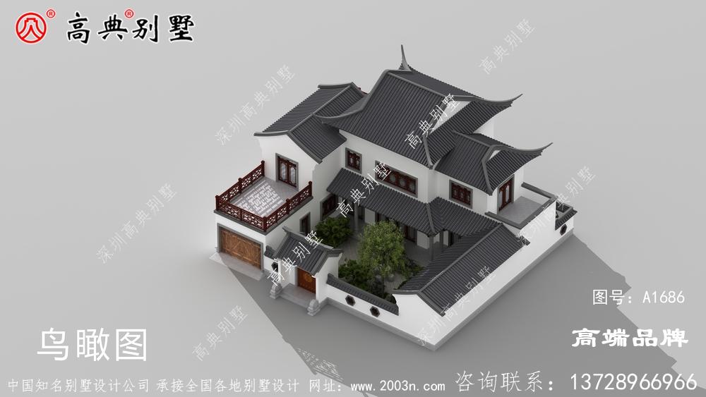 中式庭院坡屋顶设计,增强了别墅的造型感