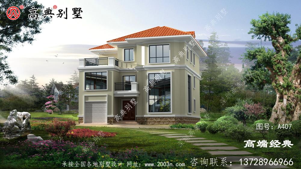 建筑装饰简洁橘色屋顶白色外墙漆,清新有活力