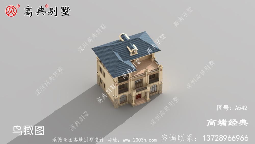 阳台设计有精致的围栏美观大方,蓝色房檐十分提神