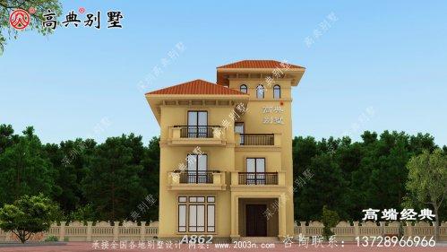 欧式自建别墅, 外观很漂亮,橙色屋顶非常时尚,让人眼前一亮。
