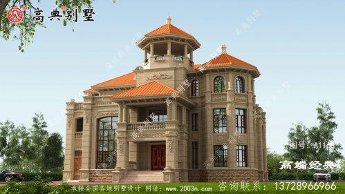 三层欧式自建房,外观看起来精致大气,屋顶是橙色的看起来一目了然。